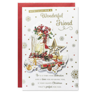 FRIEND CHRISTMAS CARD ~ TRADITIONAL DESIGN - QUALITY CARD & NICE VERSE
