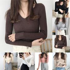 Women V Neck Long Sleeve Sweater Jumper Knitwear Slim Fit Pullover Top Blouse