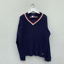 Cable Knit V-neck Tommy Hilfiger Sweatshirt Jumper like Cricket Style Jumper Med