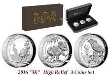2016 High Relief Australian Kookaburra Kangaroo Koala Proof Silver 3-Coin Set