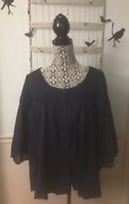 NWT 98.00 Free People Button Down Scalloped Sleeve Navy Carbon Combo Shirt Sz XS