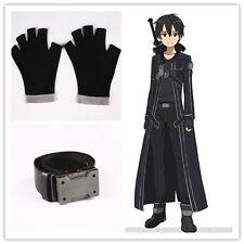 Original Anime Sword Art Online Kirito Cosplay Belt + Gloves Free Size Black COS