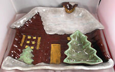 Snowy Log Cabin Chip Dip Server Brown Boyds Home Lodge Evergreen Tree Cottage