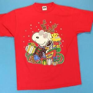 90s SNOOPY WOODSTOCK Vintage T Shirt Men's XL Joe Cool Santa Christmas Tee