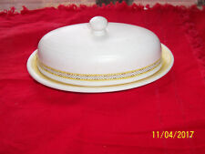 BUTTER DISH EARTH IN WARE OFF WHT. & YELLOW