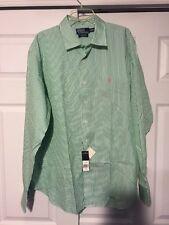 NEW Green Polo Ralph Lauren Xl Mens Button Shirt Stripe Long Sleeve Bradford 2xl