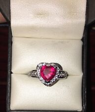 3.00 CTW Ruby & White Sapphire Heart Ring in Sterling Silver. Size- 6. $199