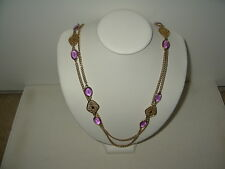 """Vintage SARAH COVENTRY Goldtone & Purple Crystal Stations 55"""" Long Necklace"""