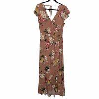 Band Of Gypsies Size Medium Blush Pink Floral Maxi Dress NWT Elastic Tie Waist