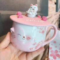 2021 Starbucks Sakura Cat Pink Cherry Blossom Coffee Mugs W/ Lid Limited Edition