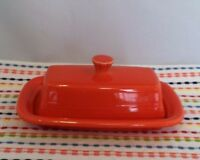Fiestaware Poppy Butter Dish Fiesta Orange XL Extra Large Butter Dish