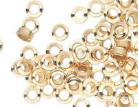 100 Gold Plated Brass Smooth 2x1mm Micro Round Spacer Beads with 0.9mm Hole