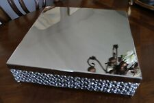 "Cake Stand with Crystal Beads Party Wedding Reception Silver Metal 16"" wide"