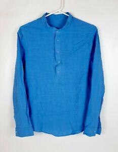 Henley Neck Shirt M Medium Men's Slim Fit Long Sleeve Blue Rayon