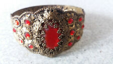 VINTAGE LADIES BRASS  BRACELET / BANGLE- RUBY RED GLASS STONES