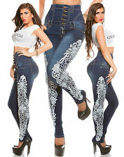New Sexy Women High Waist Skinny Jeans Ladies Pants Lace size 6 8 10 12 14 White