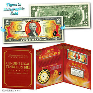 2022 CNY Chinese New YEAR OF THE TIGER Gold Hologram $2 Bill 8x10 Large Display