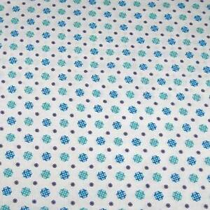 "36"" W Vintage Cotton Fabric, Floral in Aqua Blue & Purple on White, 29"" Long"