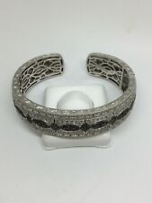 Sterling Silver Filigree Genuine Blue Diamond Hinged Cuff Bracelet