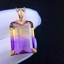 Natural Ametrine Quartz 925 Sliver Sterling Plated Rose Gold Pendant Women Gift