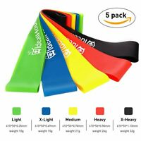 Set of 5 Resistance Loop Bands Exercise Premium Natural Latex Home Gym Fitness