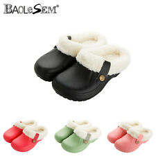 Ladies Warm Winter Fur Lined Clogs Casual Garden House Work Mules Shoes UK Size