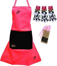 GIRLIE GARDENING Pink APRON 3 Pairs Cotton GLOVES 25 Wooden Garden PLANT LABELS