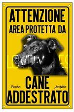 PINSCHER AREA PROTETTA TARGA ATTENTI AL CANE CARTELLO PVC GIALLO