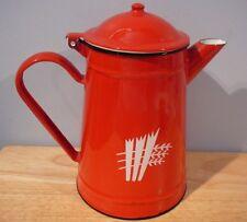 vintage red Enamel Coffee Pot Enamelware Camping 14 cm