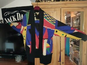 Vintage Segue Multicoloured oversized long cardigan - hand knitted 12 14 16