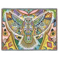 70x53 GREAT HORNED OWL Native American Southwest Tapestry Afghan Throw Blanket