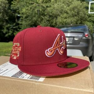 """Hat Club Exclusive Atlanta Braves 7 3/8 Cardinal 2021 All Star """"Banned"""" Patch"""
