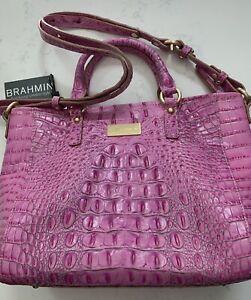 Brahmin NWT Mini Arno Bright Pink Embossed Leather Handbag Purse