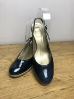 Gabor Navy Patent Leather Sligback Court Shoes Heels Size UK 5 Office Formal