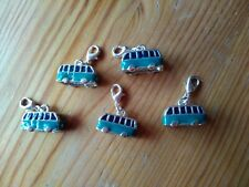 5 X NEW V.W Camper Van 3D Charm Silver and Enamel / Clasp  UK seller