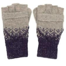 Fingerless Gloves Ladies Convertible Grey Blue Silver Sparkly Wool Blend Mitts