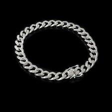 "Mens Miami Cuban Link Bracelet Solid 925 Sterling Silver 8.5"" 2.5ct Lab Diamond"