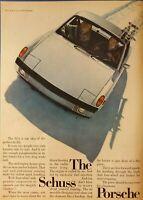 1972 VINTAGE PRINT AD - PORSCHE 914 THE SCHUSS PORSCHE SKIING SKIS SKI LIFT
