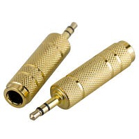 """2pcs 3.5mm 1/8"""" Male to 6.5mm 1/4"""" Female Stereo Audio Plug Adapter Converter"""