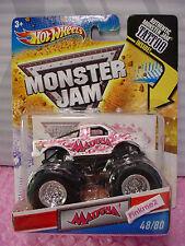 htf 2011 MONSTER JAM Hot Wheels #48 MADUSA☆White truck☆Breast Cancer Pink Ribbon