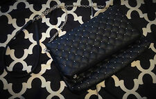 FOREVER NEW CLUTCH BAG BLACK WOMEN ENVELOPE CUSHION GOLD DOTS ACCESSORIE FASHION