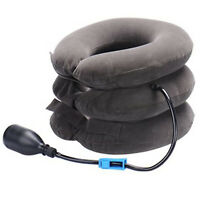 gray inflatable Cervical collar Neck Traction brace Stretch -Travel home office