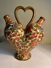 Antique Beautiful Hand Painted Fischer J Budapest Heart Shape Jug
