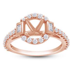 14K Rose Gold 1/2ct Diamond Semi-mount Engagement  Halo Ring- 5.8mm Round