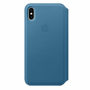 Official Apple iPhone XS Max Leather Folio Wallet Case Cape Cod Blue MRX52ZM/A