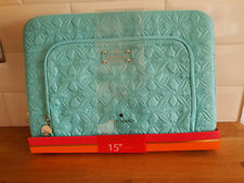 "KATE SPADE DESIGNER LAPTOP CASE SLEEVE 15"" Bag Aqua Blue Quilted Macbook Pro NEW"