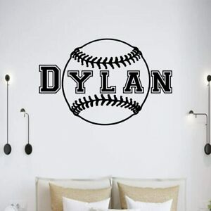 Baseball Customized Name for Boys Room Player Man cave Wall Sport Vinyl Sticker