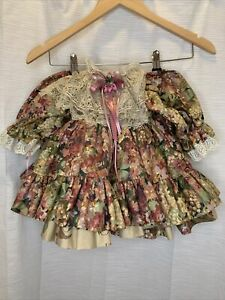 Vintage Rare Floral Frilly Pageant Party Dress Full Circle Baby Toddlers