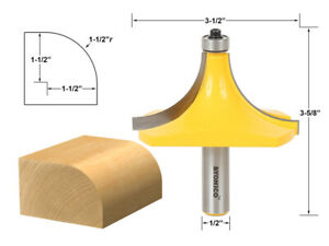 "1-1/2"" Radius Round Over Edge Forming Router Bit - 1/2"" Shank - Yonico 13171"