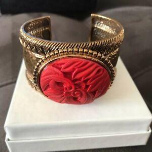 Barse Jewelry Red Cinnabar Chunky Cuff Bracelet NEW